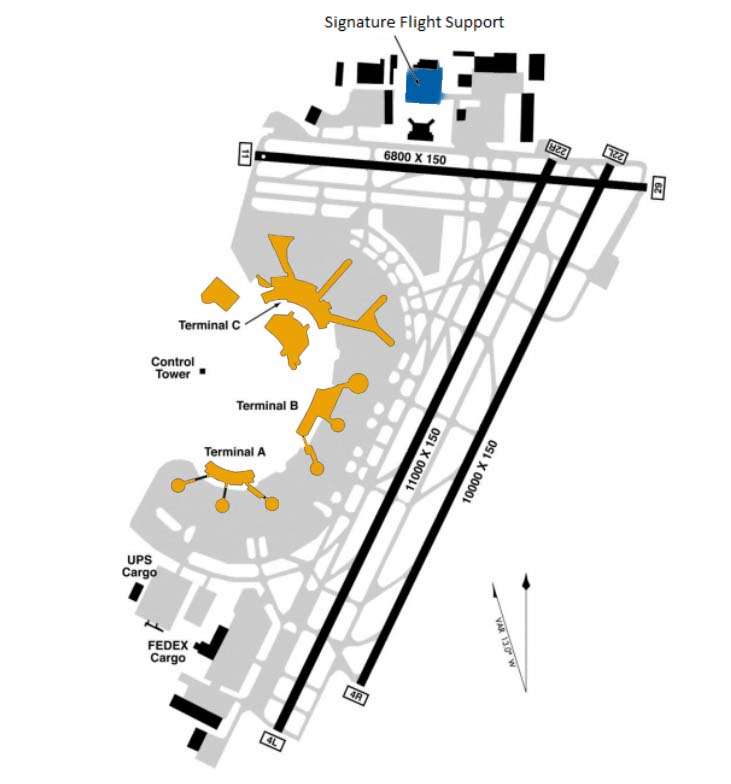 Singnature Flight Support Map EWR Airport